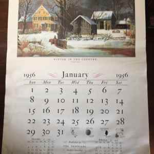 Currier & Ives Calendar 1956 by Travelers Insurance