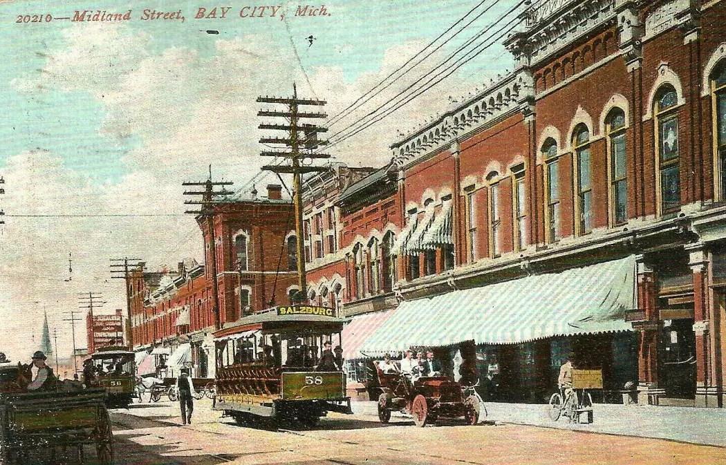 Bay City Postcard Midland Street 1908