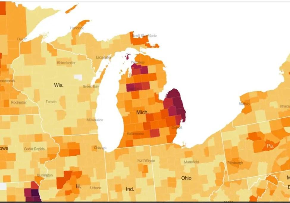 Michigan Covid Hotspot Map