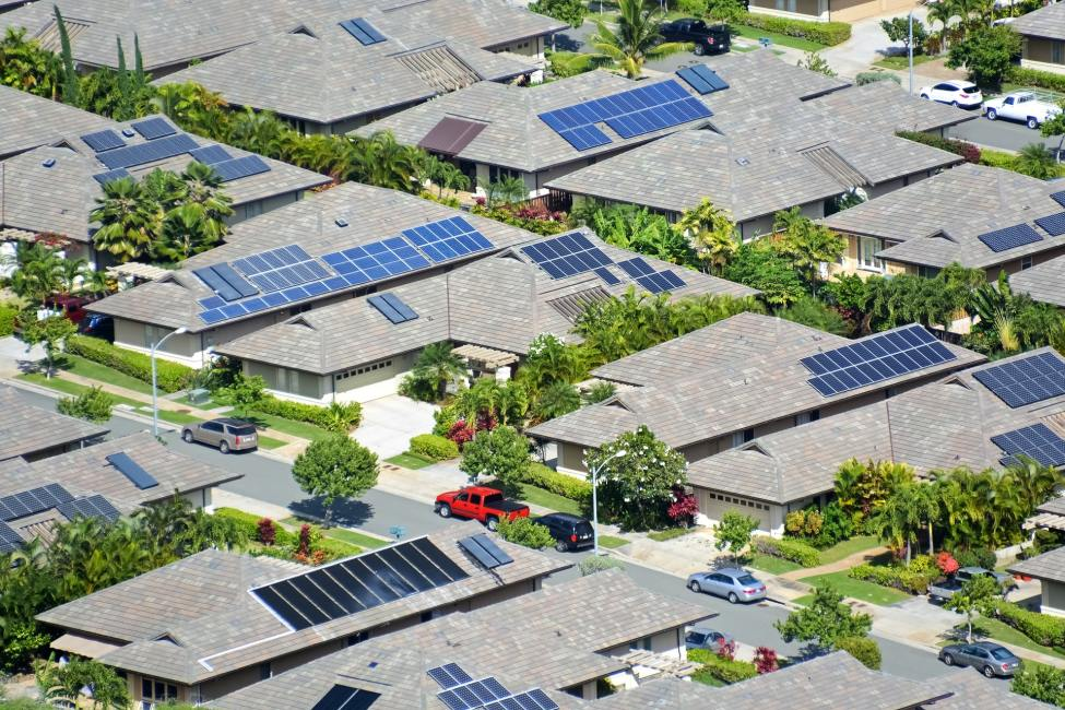 Neighborhood with solar panels on roof - How Much Solar Power Do I Need