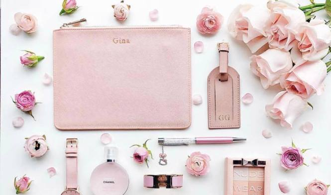 Dainty Co. personalised leather pouch and luggage tag