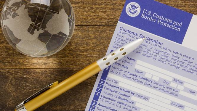 Pen on a customs form