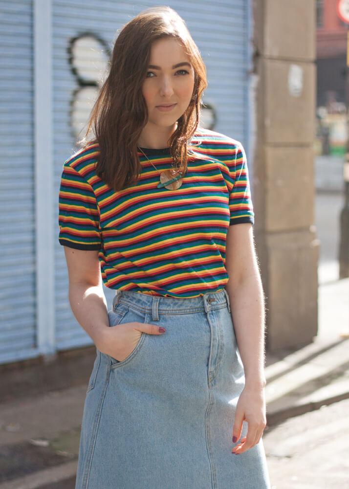 Run & Fly - Unisex Rainbow Brights T-shirt, Vero Moda - Denim Midi Skirt & Tatty Devine - Planet Necklace