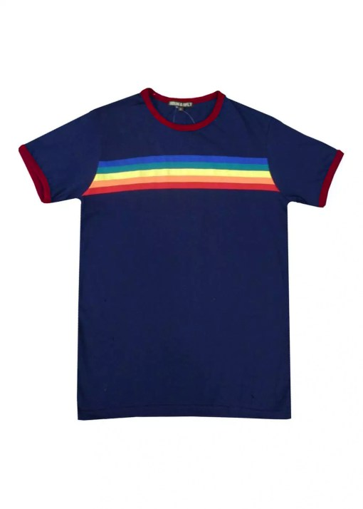 Run & Fly - Unisex Navy Rainbow Ringer Tee