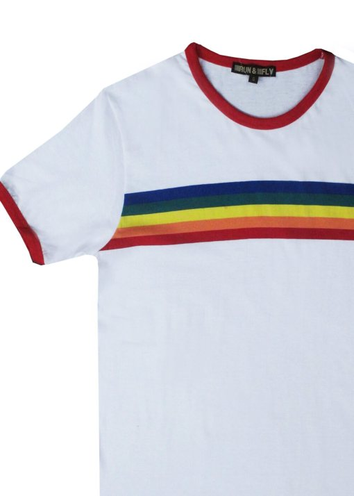 Run & Fly - Unisex White Rainbow Ringer Tee