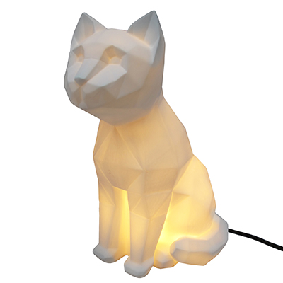 House of Disaster - White Origami Cat Lamp