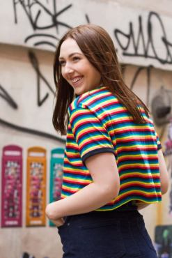 Run & Fly - Rainbow Stripe Crop T-Shirt & Noisy May - Navy Corduroy Mini Skirt