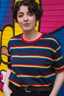 Run & Fly - Unisex Navy Rainbow Slim Stripe Tee
