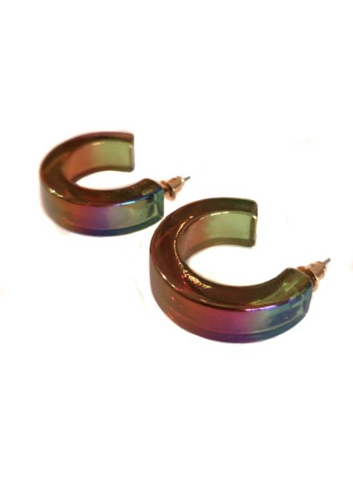 Big Metal London - Iridescent Multicoloured Chunky Hoop Earrings