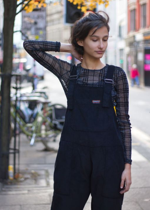 Run & Fly - Unisex Corduroy Dungarees in Black & Noisy May - Semi Sheer Flocked Grid Top