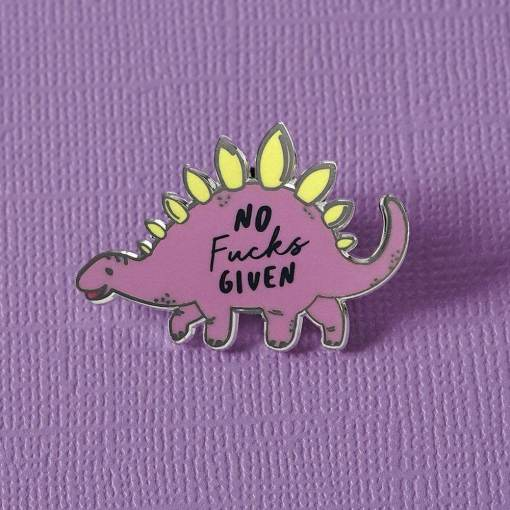 Punky Pins - 'No Fucks Given' Dinosaur Enamel Pin