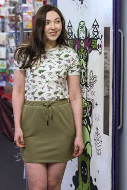Noisy May - Olive Jersey Mini Skirt