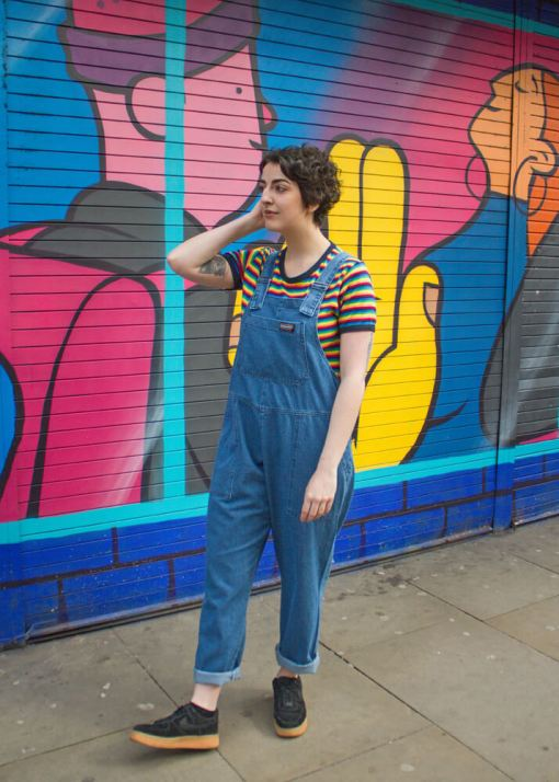 Run & Fly - Unisex Blue Denim Oversized Dungarees