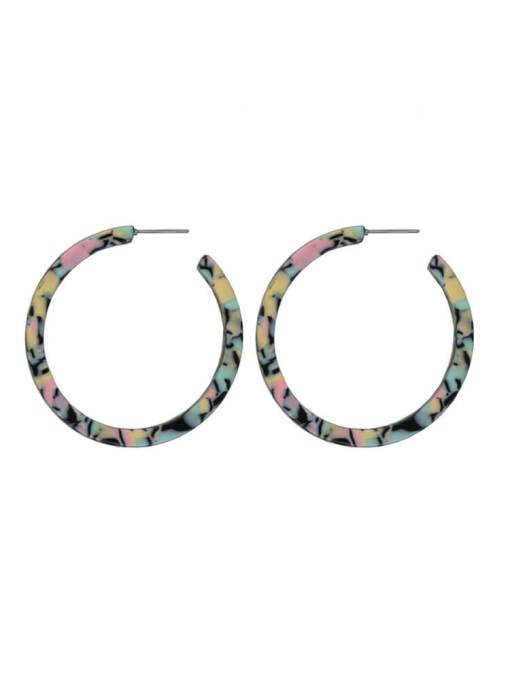 Big Metal London - Large Pastel Marble Hoop Earrings