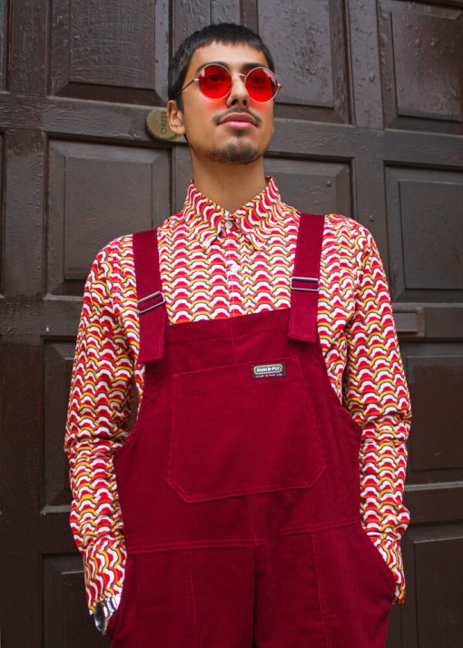 Run & Fly - Unisex Corduroy Dungarees in Tawny Port
