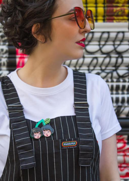 Run & Fly - Unisex Black Pinstripe Dungarees