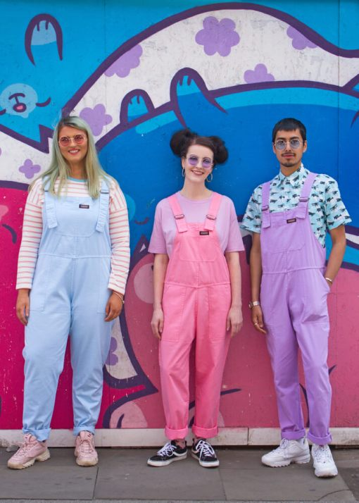 Run & Fly - Unisex Pastel Dungarees in Strawberry Pink, African Violet & Sky Blue