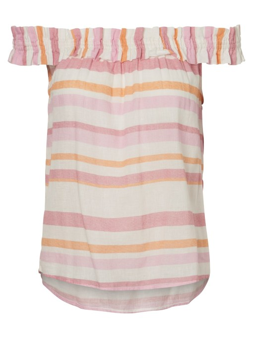 Vero Moda - Pink Striped Off the Shoulder Top