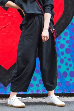 Thunder Egg - Black Cropped Wide Leg Joggers