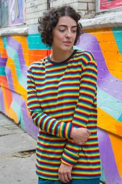 Run & Fly - Unisex Rainbow Stripe Long Sleeve Tee