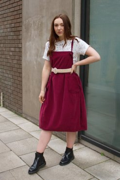 Thunder Egg - Burgundy Oversized Corduroy Pinafore Dress
