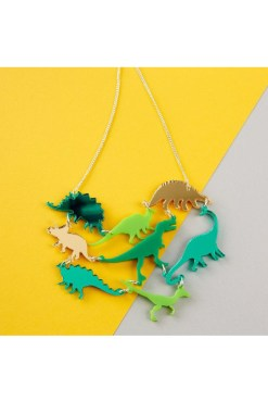 Punky Pins - Green Dinosaur Gang Necklace