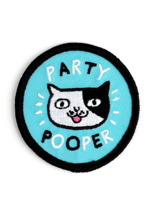 Badge Bomb - Party Pooper Iron On Patch