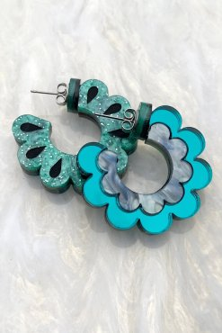Rosa Pietsch - Teal Scalloped Hoop Earrings