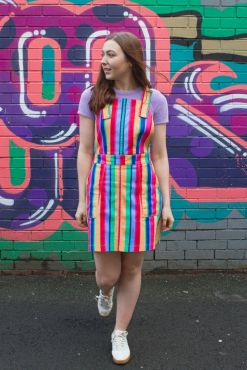 Run & Fly - Twill Rainbow Stripe Pinafore