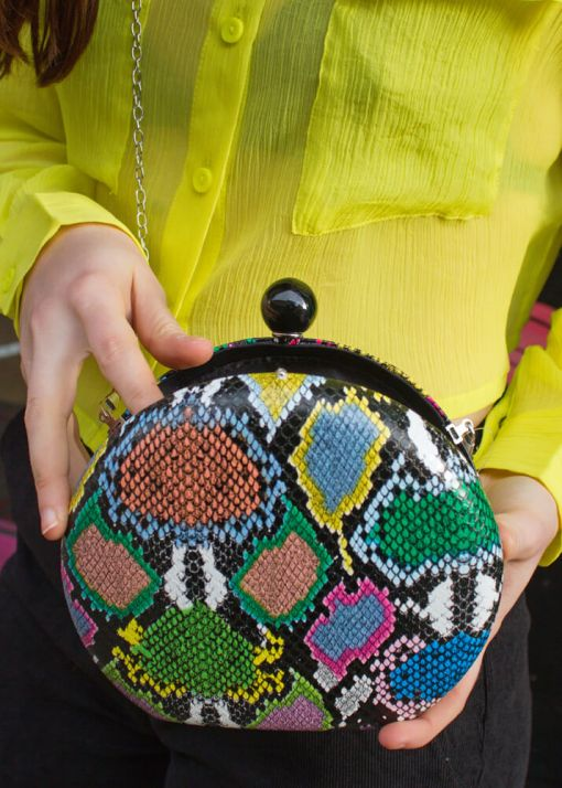 Thunder Egg - Multicoloured Faux Snake Bag