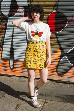 Run & Fly - Mustard Dinosaur Corduroy Skirt