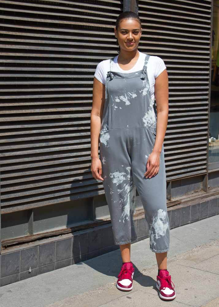 Thunder Egg - Grey Tie Dye Jersey Dungarees