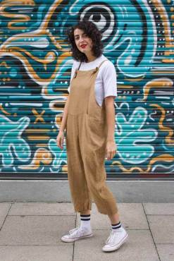 Thunder Egg - Light Brown Linen Dungarees