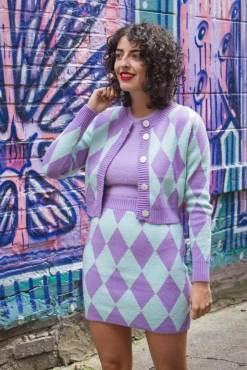 Glamorous - Lilac Diamond Knit Mini Skirt and Cardigan