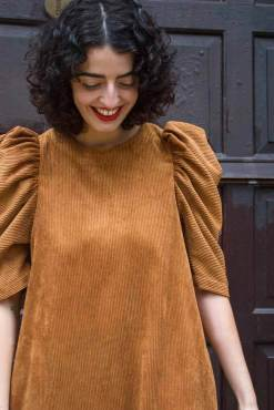 Daphnea - Statement Sleeve Dress in Brown Corduroy