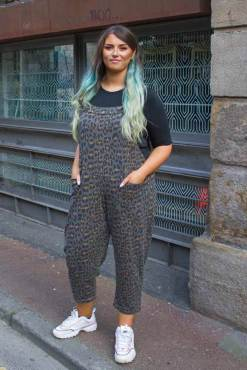 Thunder Egg - Grey Leopard Print Jersey Dungarees