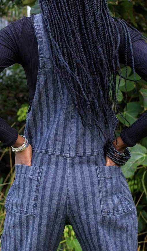 Run & Fly - Unisex Black Stone Wash Stripe Stretch Dungarees