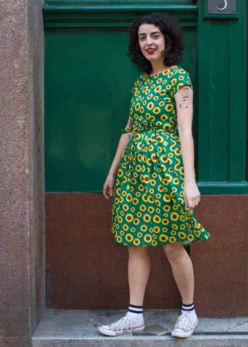 Run & Fly - Green Sunflower Dress