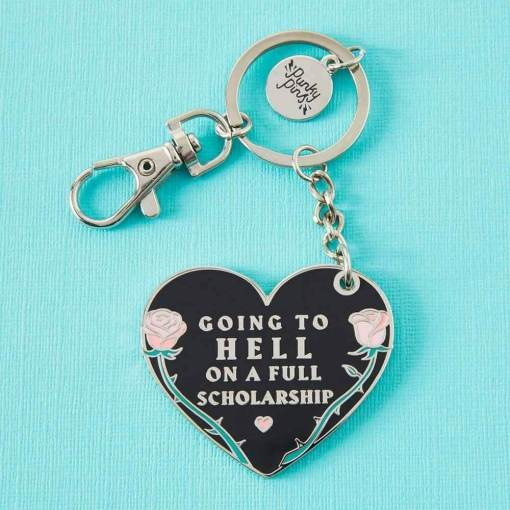 Punky Pins - Going To Hell On A Full Scholarship Enamel Keyring