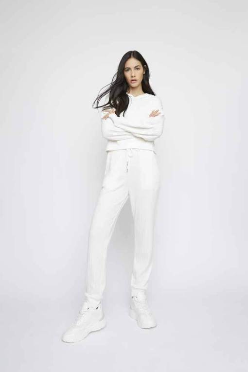 Glamorous - White Cropped Hooded Top