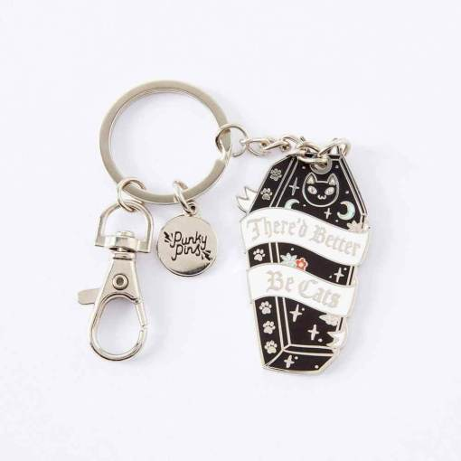 Punky Pins - There'd Better Be Cats Enamel Keyring