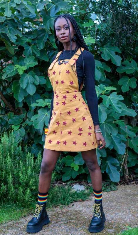 Run & Fly - Stretch Twill Pink & Yellow Star Pinafore