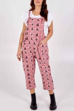 Thunder Egg - Pink Star Jersey Dungarees