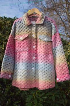 Thunder Egg - Rainbow Crochet Shacket