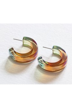 Big Metal London - Celia Two Tone Resin Hoop Earrings