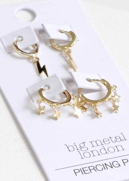 Big Metal London - Camille Star and Lightning Earring Set in Gold