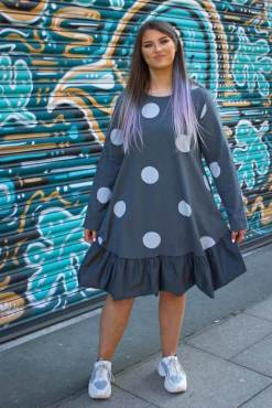 Thunder Egg - Grey Polka Dot Frill Dress