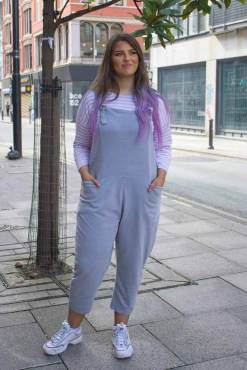 Thunder Egg - Light Grey Jersey Dungarees
