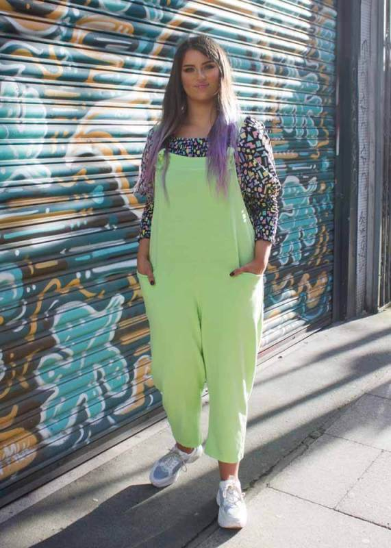 Thunder Egg - Lime Jersey Dungarees