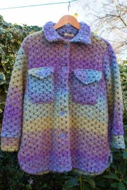 Thunder Egg - Purple & Green Crochet Shacket